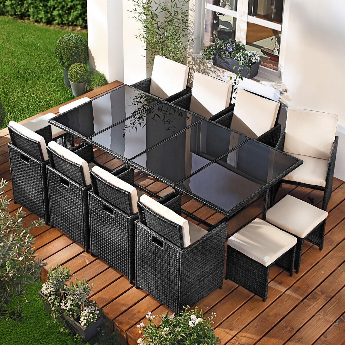 polyrattan gartenm belset camouflage 13tlg schwarz. Black Bedroom Furniture Sets. Home Design Ideas