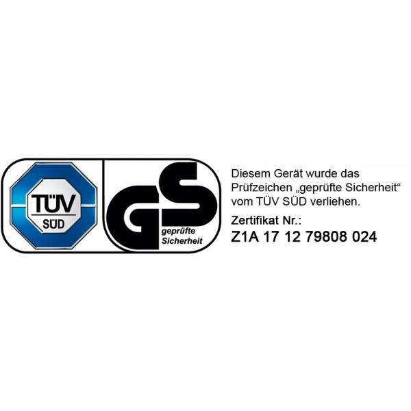 """Dieses Gerät wurde von der akkreditierten Prüfstelle TÜV Süd getestet, und es wurde ihm das Prüfzeichen: """"Geprüfte Sicherheit"""" verliehen."""