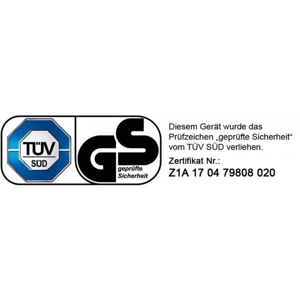 """Das Brast Multitool wurde von dem unabhängigen akkreditierten Prüfinstitut TÜV Süd getestet und mit dem Prüfsiegel """"Geprüfte Sicherheit"""" versehen (Zertifikats-Nr. Z1A 17 04 79808 020)"""