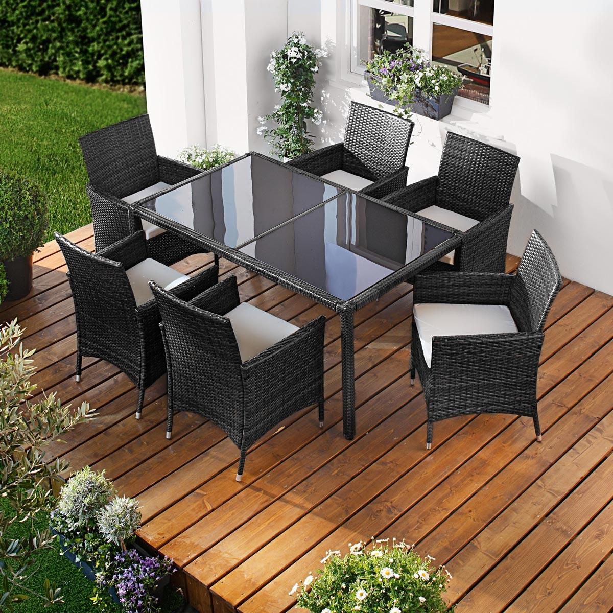 polyrattan gartenm belset elegance 7tlg schwarz. Black Bedroom Furniture Sets. Home Design Ideas