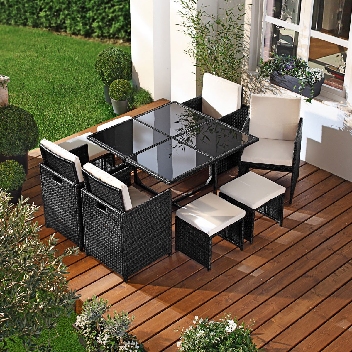 polyrattan gartenm belset camouflage 9tlg schwarz. Black Bedroom Furniture Sets. Home Design Ideas
